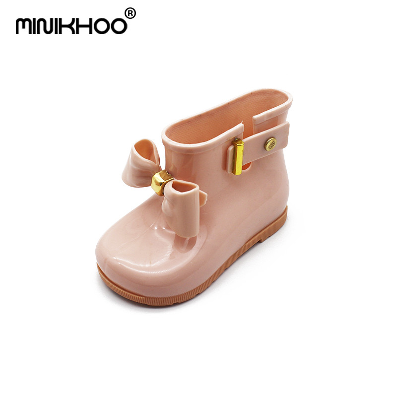 Mini Melissa 2018 New Cute Rain Boots SedS Bow Shoes Boots Baby Jelly Shoes Fashion Boots Slip Water Melissa Shoes Boots