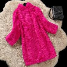 Real rabbit fur coats women autumn and winter slim long full pelt rabbit fur coat outerwear