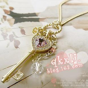 fashion Jewelry  wholesale Amethyst love golden crown statement key pendant Necklace women