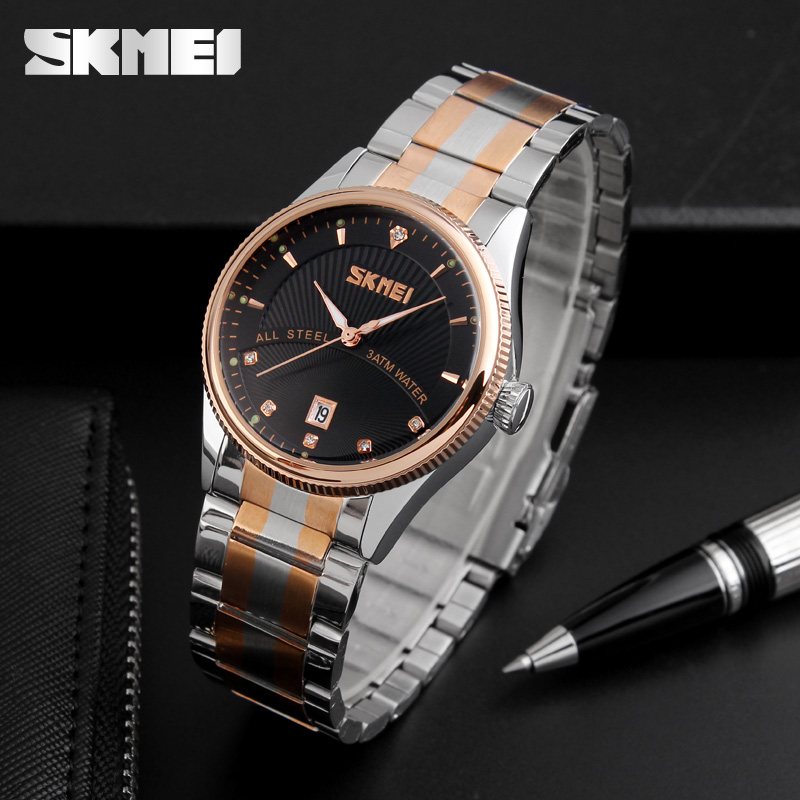 купить SKMEI 9123 Men Business Quartz Wristwatches Relogio Masculino Complete Calendar Stainless Steel 30M Waterproof Dress Mens Watch недорого