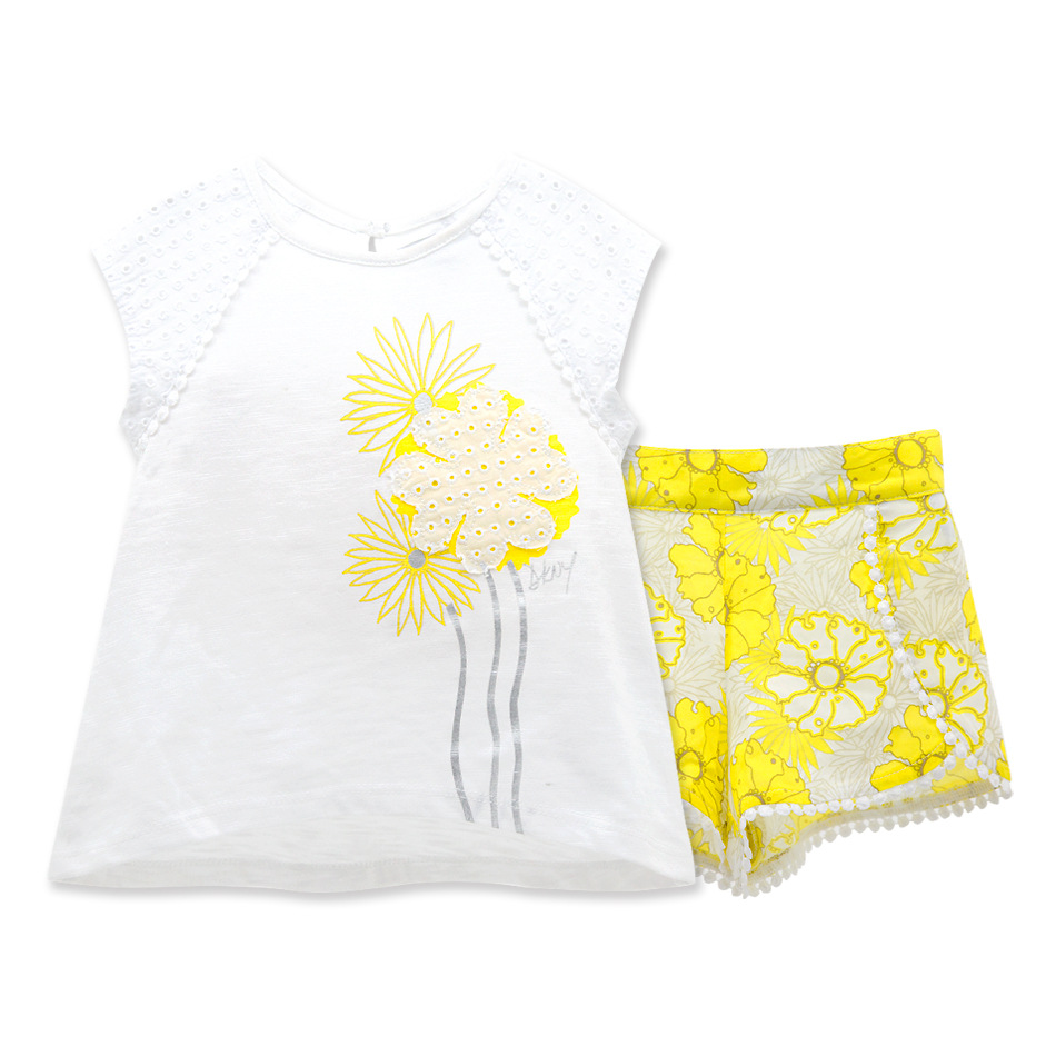 2016 fashion lemon summer clothes baby outfits set...
