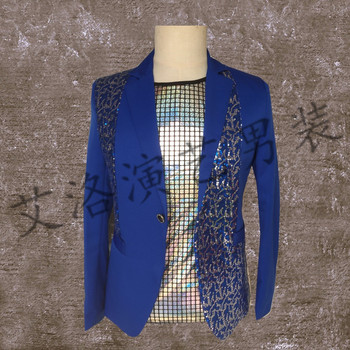 2018 new stage DJ men's singer sequin suit Europe and the United States simple dress nightclub male singer costume