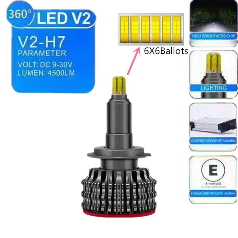 V2 90 W 9000lm Canbus led kit de phare ventilateur turbo 12 V led H7 360 Degrés 6500 K H1 H8 H9 H11 HB3 HB4 led Voiture répéteur hdmi Ampoules