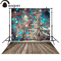Allenjoy Photo Backdrops Christmas Tree Bokeh Wooden Floor Photography Backgrounds Photocall Photographic Photo Studio