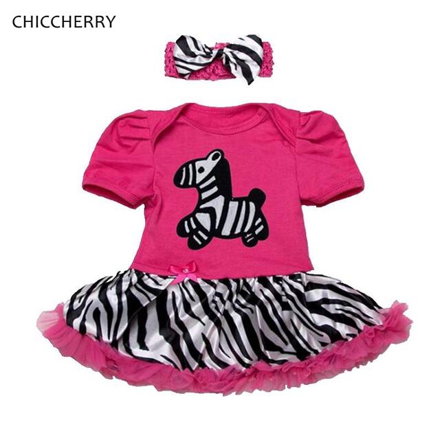 Cavalo fantasia Impressão Listras Da Zebra Do Bebê Roupas de Menina Criança Rendas conjunto de roupa de bebe romper dress bow headband tutu aniversário Outfits