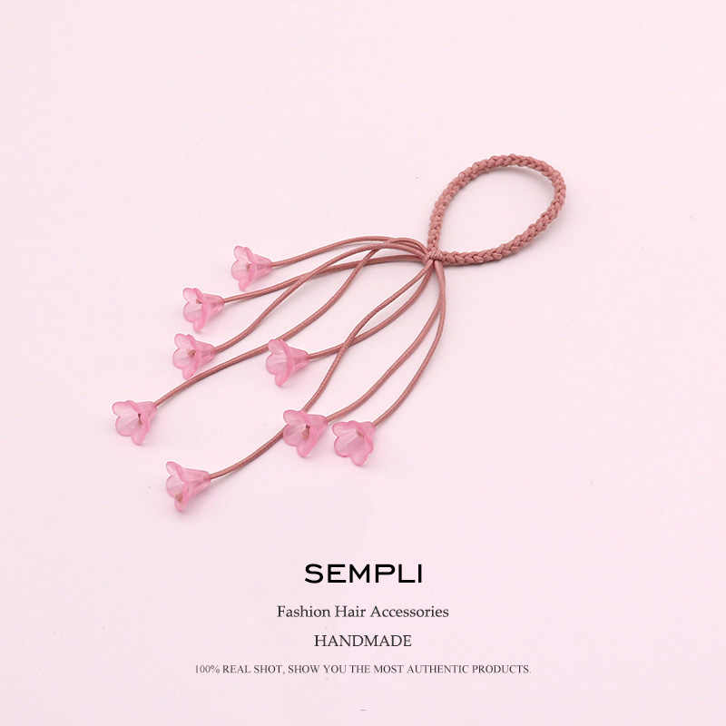 6 Colors Nylon and Rubber Cute Small Flower For Girls Elastic Hair Bands Pink Black Bandans headwear women Kids Hair Accessories