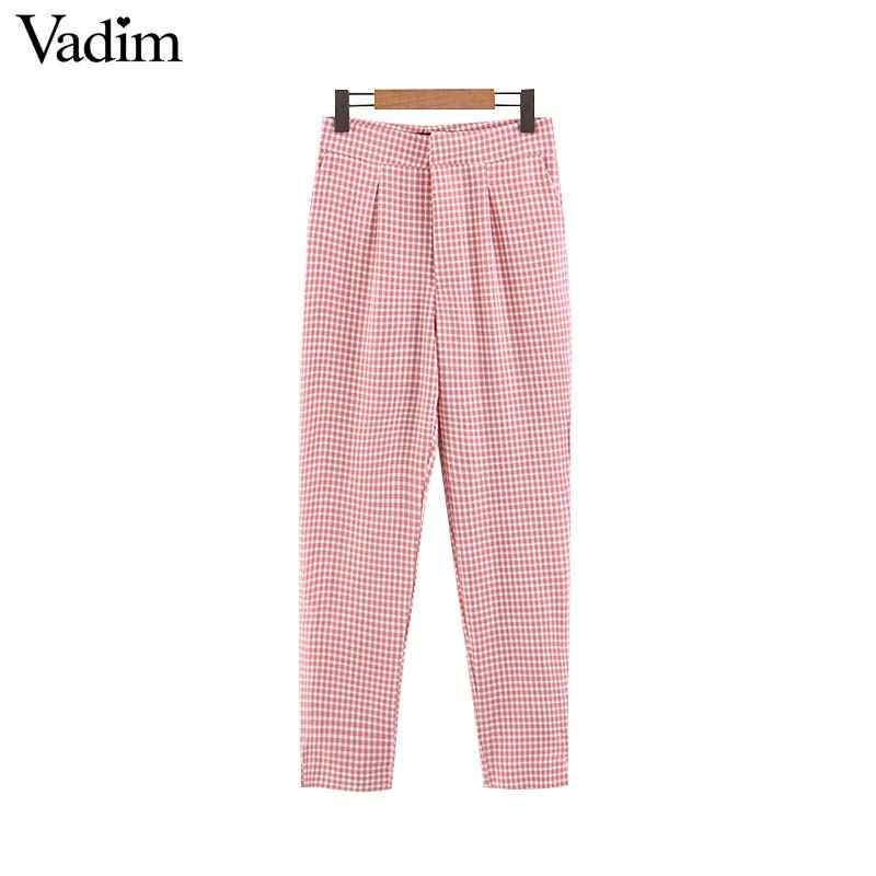 Vadim women sweet plaid straight pleated pants pockets design casual full length zipper fly chic trousers mujer KA842