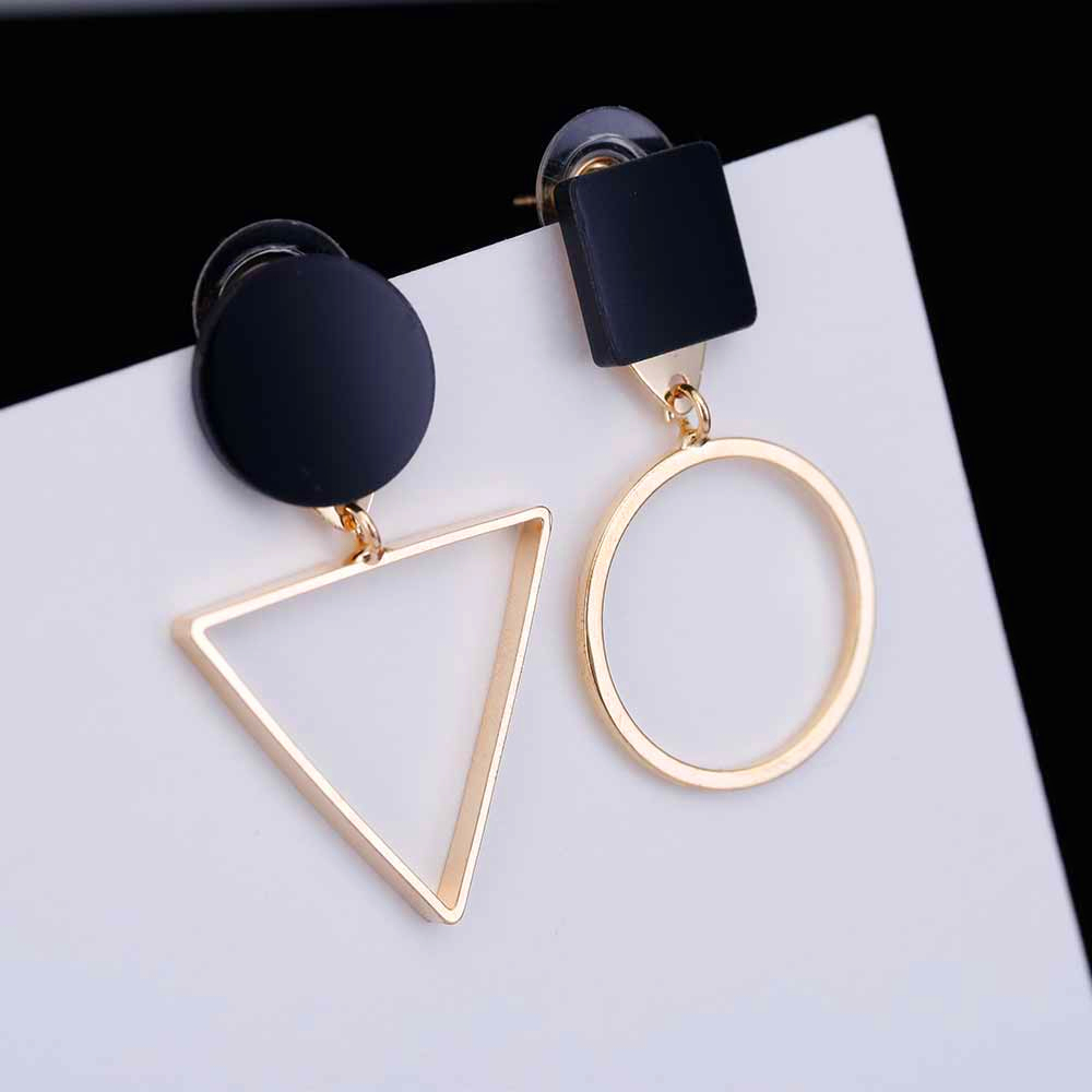 Fashion Elegant Asymmetric Geometric Stud Earrings For Women Design Round Triangle Hollow Earrings Wedding Party Gift Brincos