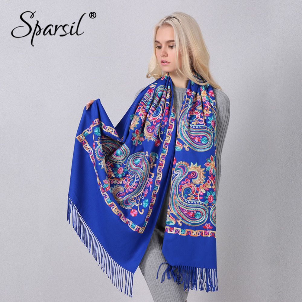 Sparsil Women Cashmere Embroidery Scarf Autumn Winter Floral Tassel 200*70cm Pashmina Blossom Shawl Female Wraps Muslim Scarves