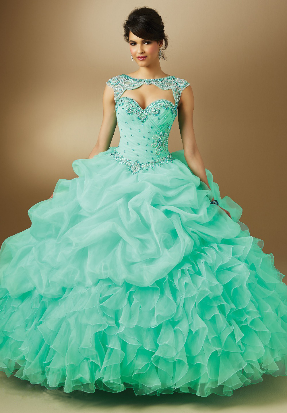 In stock fast shipping organza beading 2018 quinceanera lilac mint pink vestido de noiva prom gown mother of the bride dresses