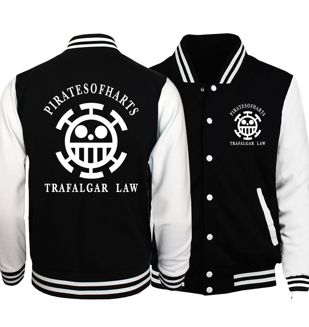 Japanese Anime One Piece Luffy Men's Jackets Hoodies 2019 Spring Crossfit Baseball Jacket Coat Trafalgar Law Cosplay Sportswear
