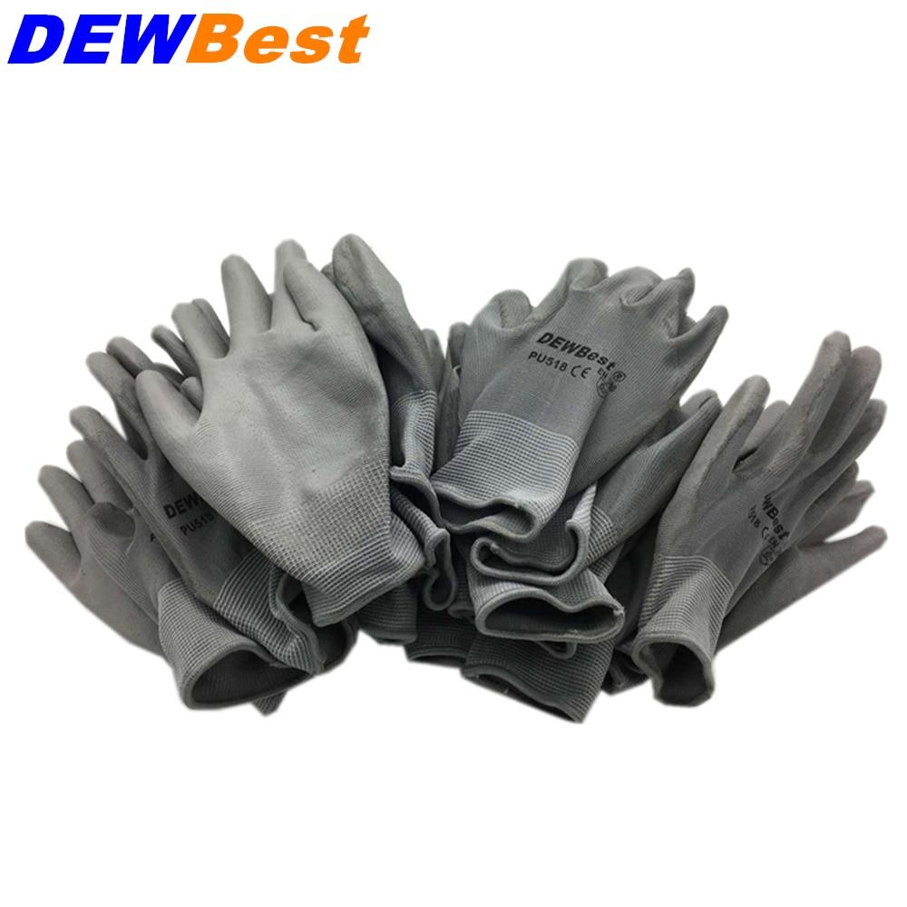 DEWBest 13G black PU Work Gloves Palm Coated working ...