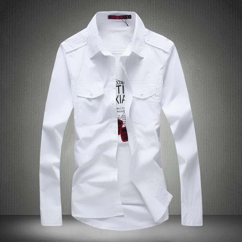 Men shirt shoulder strap french cuff button mens dress for Men french cuff dress shirts