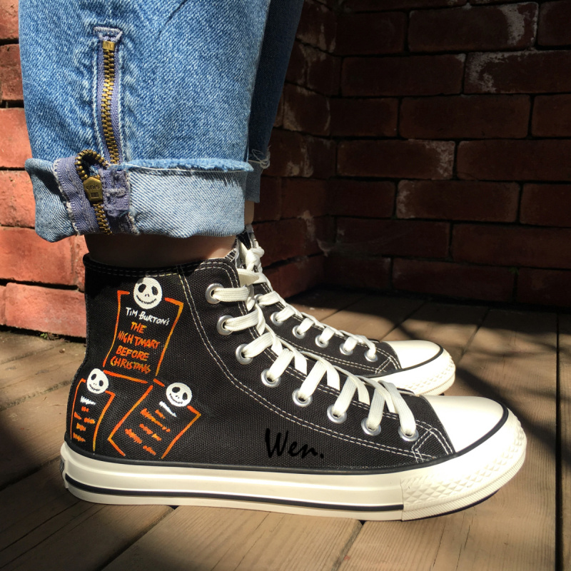 Wen Hand Painted Canvas Shoes Design Custom Nightmare Before Christmas  Three Heads High Top Men Women s Canvas Sneakers da9355197