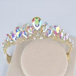 Gold AB Color Crystla Wedding Hair tiara Women Crowns with comb Bridal Headpiece Hair Jewelry diadema teardrop party tiaras