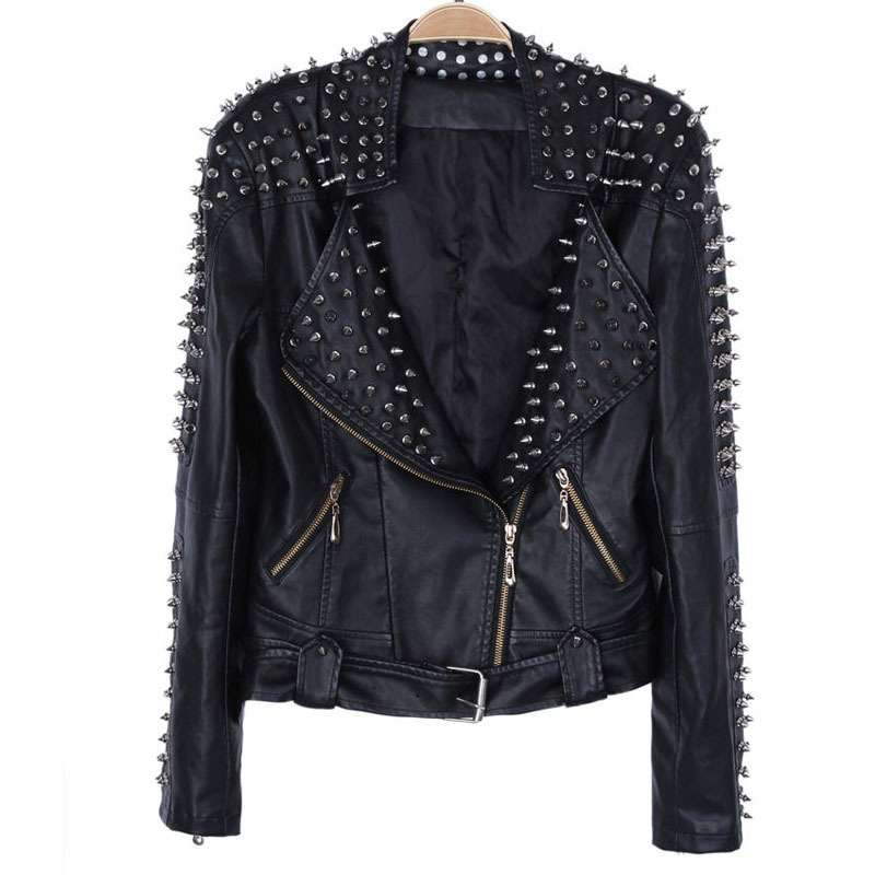 Leather Jacket With Spikes For Men