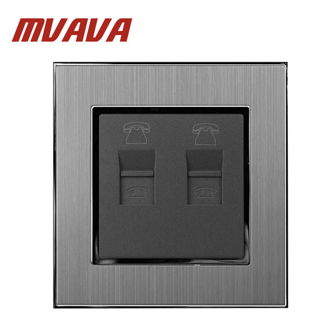 MVAVA Doble RJ11 TEL Socket 110 250 V de Metal Satinado Marco de ...