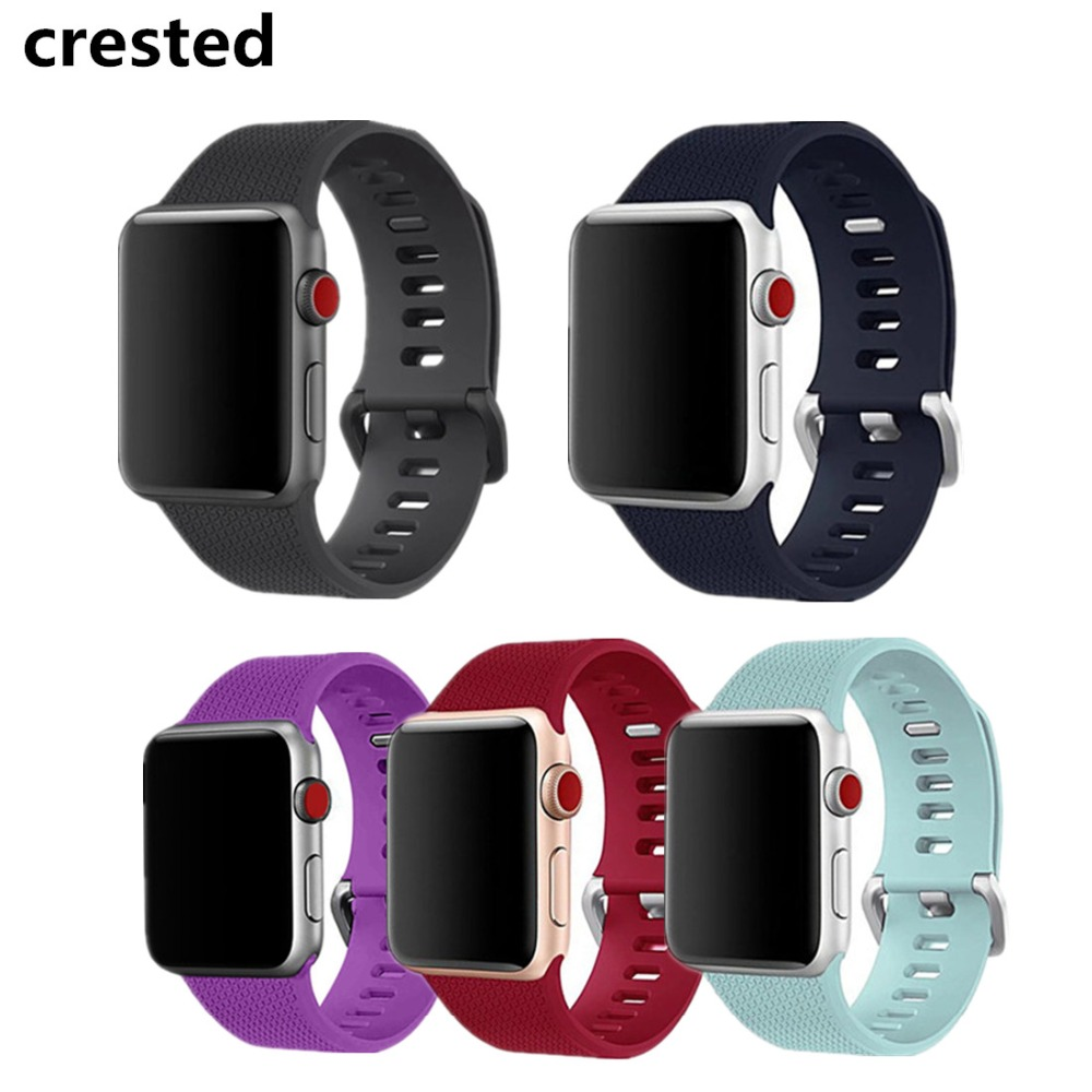 CRESTED Sport  For Apple Watch band 42mm 38mm silicone iWatch 3 2 1 wrist band Bracelet belt watchband metal Classic Buckle sport silicone strap for apple watch band 42 38 mm bracelet wrist band watch watchband for iwatch nike 3 2 1