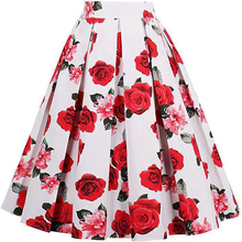 Faldas Mujer Moda 2019 Vintage Rose Floral Printed Skirts womens Elegant Pleated Midi Skirt For Women Spring and Summer
