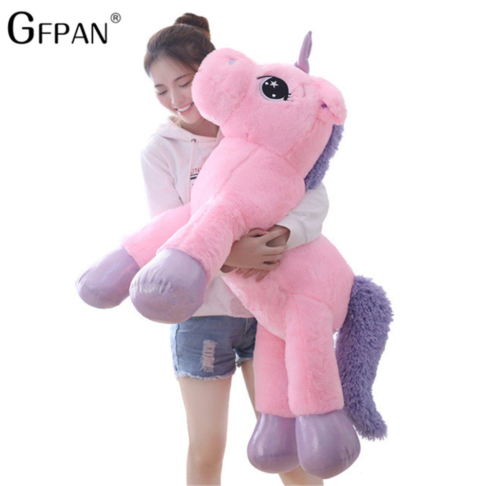 Giant 110/60cm <font><b>Unicorn</b></font> Plush <font><b>Toy</b></font> Soft Stuffed Popular Cartoon <font><b>Unicorn</b></font> Doll Animal Horse <font><b>Toy</b></font> High Quality <font><b>Toys</b></font> <font><b>for</b></font> Children <font><b>Girls</b></font> image