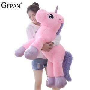 Image 1 - W gigantycznym rozmiarze 110/60cm Kawaii pluszowy jednorożec miękkie nadziewane popularne lalki z kreskówek zwierząt koń wysokiej jakości zabawki dla dzieci dziewczyny