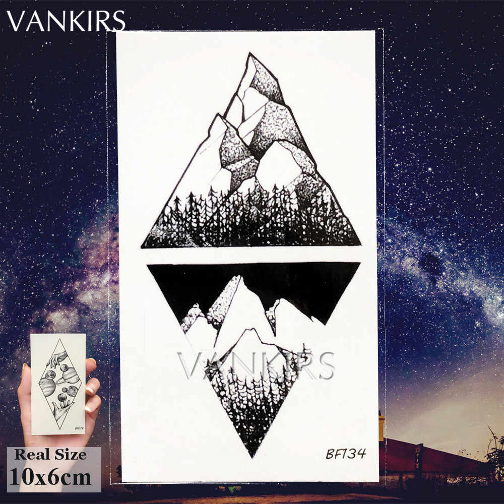 25 diseños tatuaje temporal falso negro mujeres triángulo tatuajes pegatinas cuerpo brazo resistente al agua Tatoos ballena hombres arte geométrico