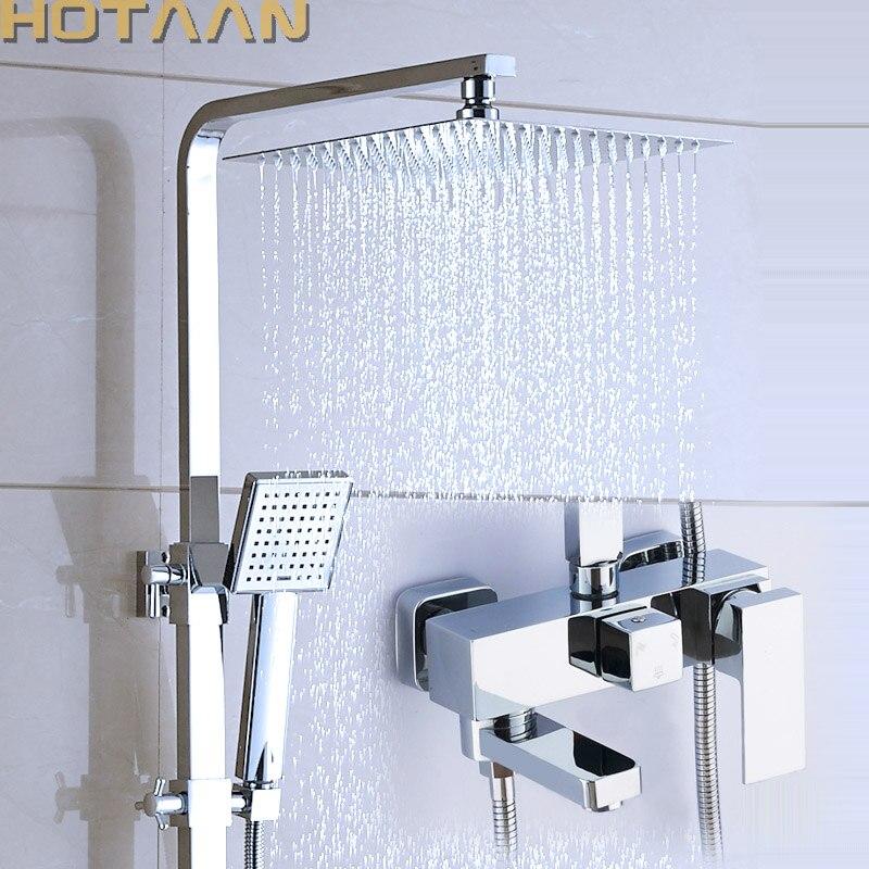 Shower Set Chrome Finish Brass Made Shower Set Bathroom 3 Function Shower Faucet 12 Inch Rain
