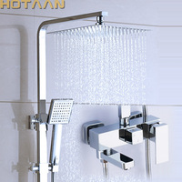 Shower Set. Chrome Finish Brass Made Shower Set.Bathroom 3 Function Shower Faucet. 12 Inch Rain Shower Head Tub Mixer Faucet