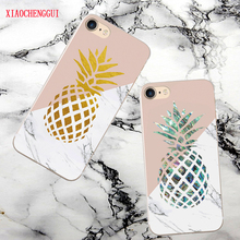 Goud Ananas Marmer case for iphone 7/8 silicone zachte TPU cover iphoneX 7/8/6 plus  fundas coque capas