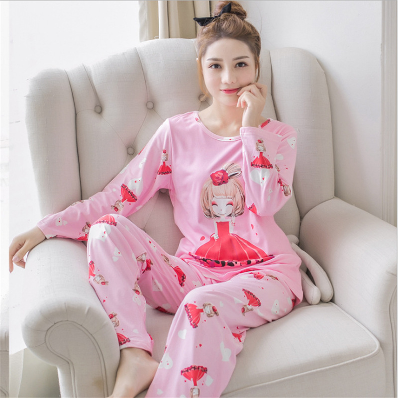 2018 New Korean Spring Autumn 2 Pieces Pyjamas   Set   Women Lovely Girls Round Neck   Pajamas     Sets   Sleepwear Clothes Pyjamas Women