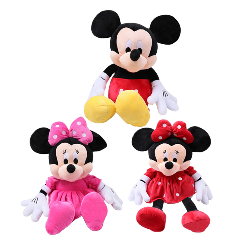 2pcs/lot 28cm Cute Mickey Mouse and Minnie Mouse Stuffed Soft Cartoon Animal Plush Toys Kids Baby Love Dolls Classic Gifts plush ocean cartoon shark toys soft cute pillow super soft stuffed animal shark dolls best gifts for kids friend baby 21
