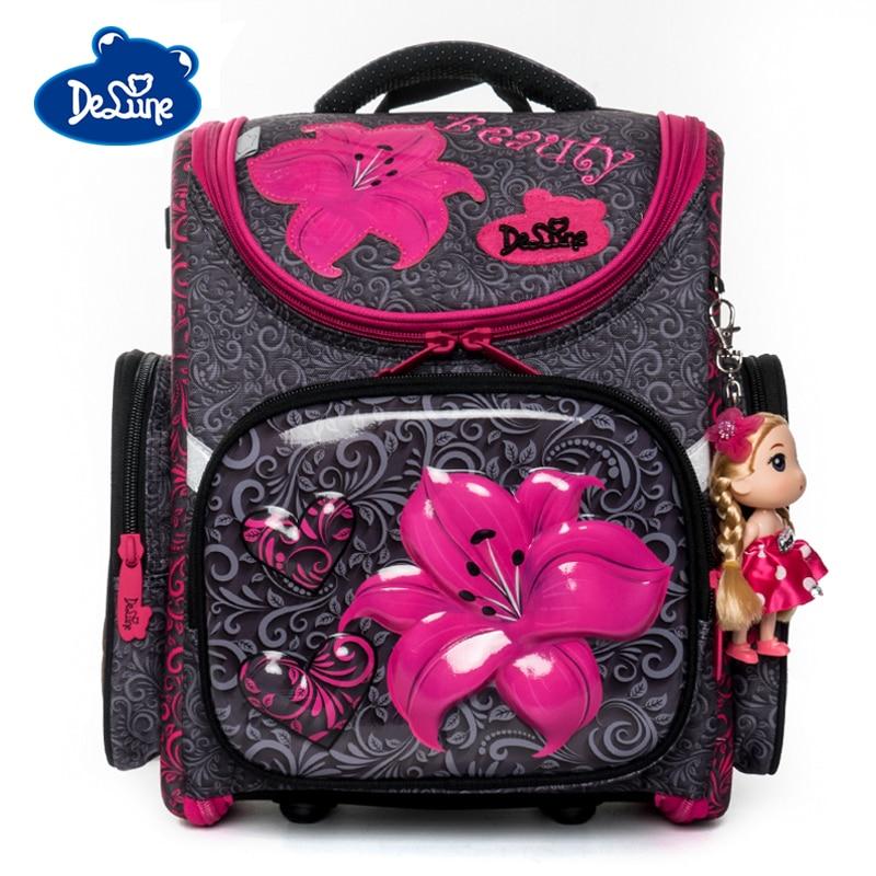 Delune Cartoon School Bags Backpack For Girls Boys Flower Pattern Children Orthopedic Backpack Primary Mochila Escolar Infantil
