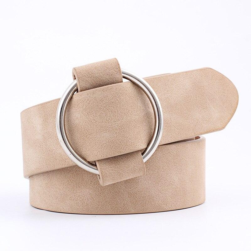 Модный классический круглый ремень с пряжкой, Женский широкий ремень, дизайн, высокое качество, Женские повседневные кожаные ремни для джинсов kemer - Цвет: Style 2  Khaki