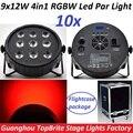 10 шт. Led Par Огни в Кейсе 9x12 W RGBW 4IN1 Par Led плоским Par Can DMX Диско DJ Перемещение Головы Лазерного Этап Стробоскоп проектор