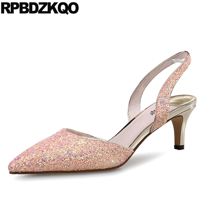 Size 4 34 Strap Ladies Glitter Slingback Summer 10 42 Pointed Toe Plus Pink Shoes Women Kitten Bride Sparkling Sequin 12 44 недорго, оригинальная цена