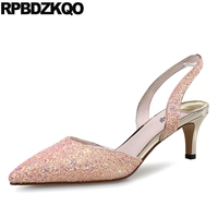 Size 4 34 Strap Ladies Glitter Slingback Summer 10 42 Pointed Toe Plus Pink Shoes Women Kitten Bride Sparkling Sequin 12 44