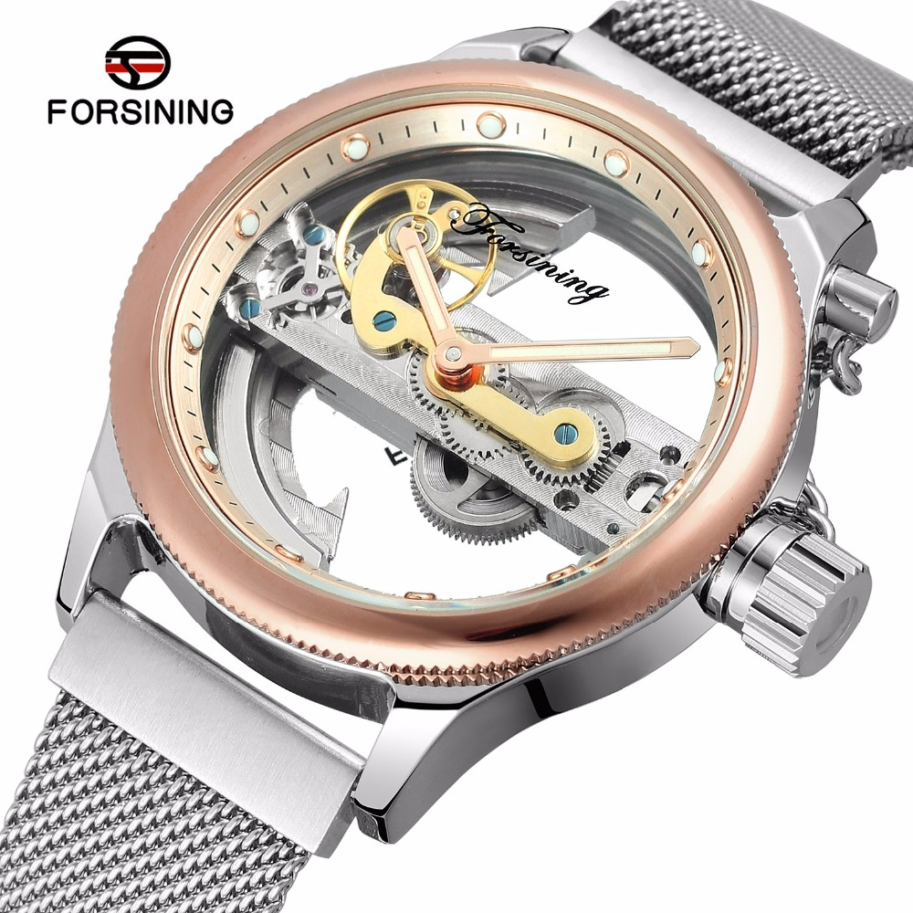 FORSINING Transparent Hollow Skeleton Mechanical Watch Men Silver Mesh Stainless Steel Self Wind Automatic Watch Men Rose Gold tevise business automatic mechanical watches men mechanical self wind silver stainless steel skeleton watch men montre 8377