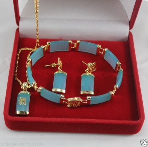 Wholesale price 16new ^^^^Jewelry Blue stone pendant necklace bracelet earrings Set wholesale price 16new ^^^^ewellery green stone inlay zircon earring pendant ring sets