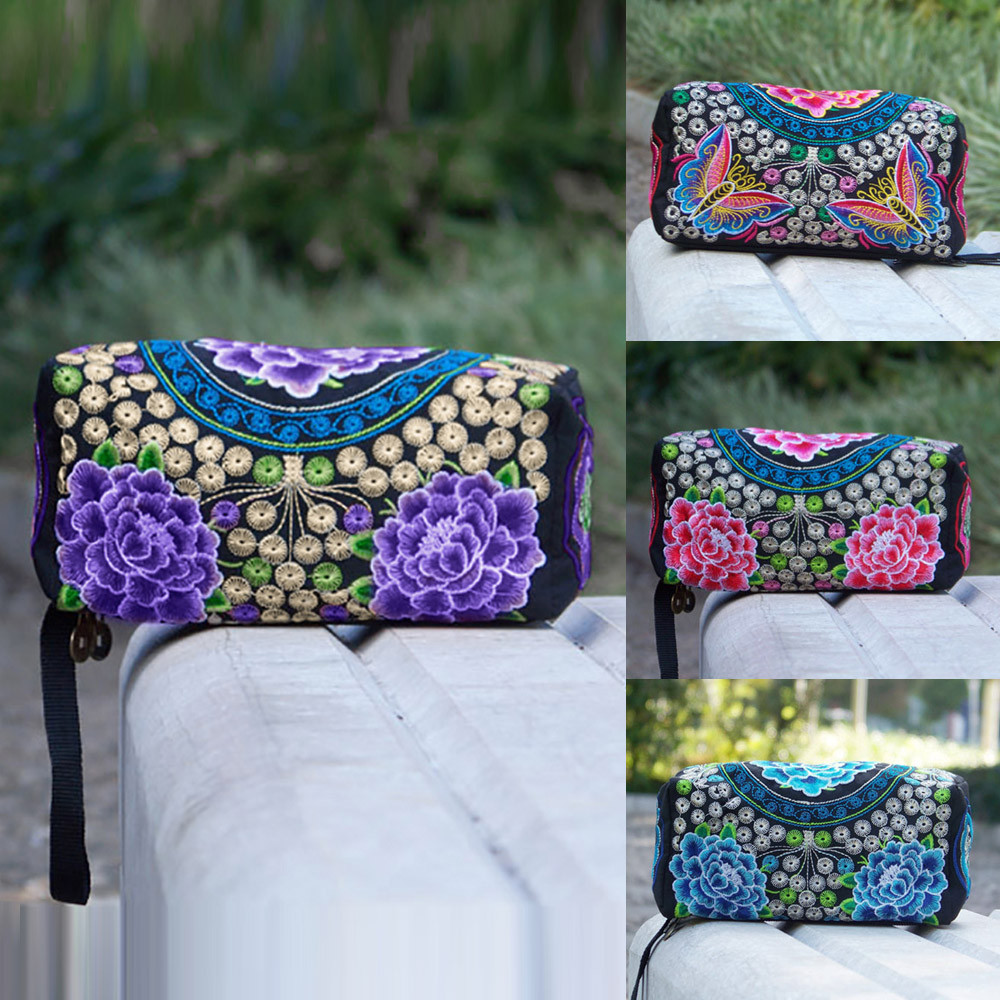 women wallets men wallets Ethnic Handmade Embroidered Wristlet Clutch Bag Small square package Dropship Y712(China)