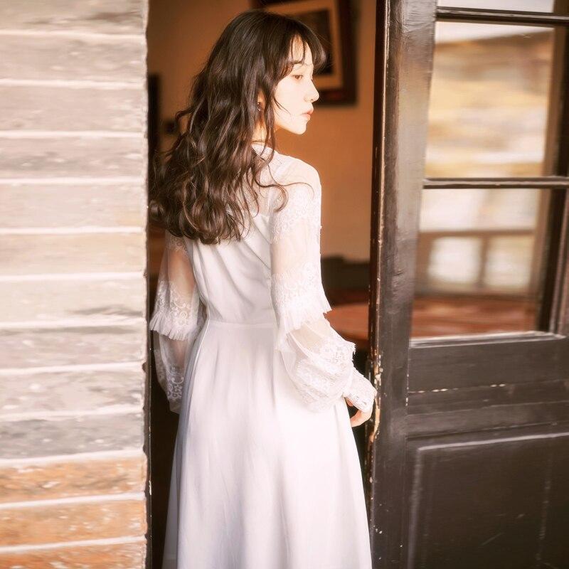 Kadın Giyim'ten Elbiseler'de YOSIMI 2019 Yaz Beyaz Dantel Şifon Kadın Elbise Maxi Tam Kollu uzun elbise Beyaz Peri Ince Parti Kadın Vestido Ayak Bileği  uzunluk'da  Grup 3