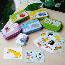 цена Baby COGNITION PUZZLE TOYS Iron-box Match Game Puzzle Card Learning English Fruit Animal Traffic Educational Montessori stickers онлайн в 2017 году