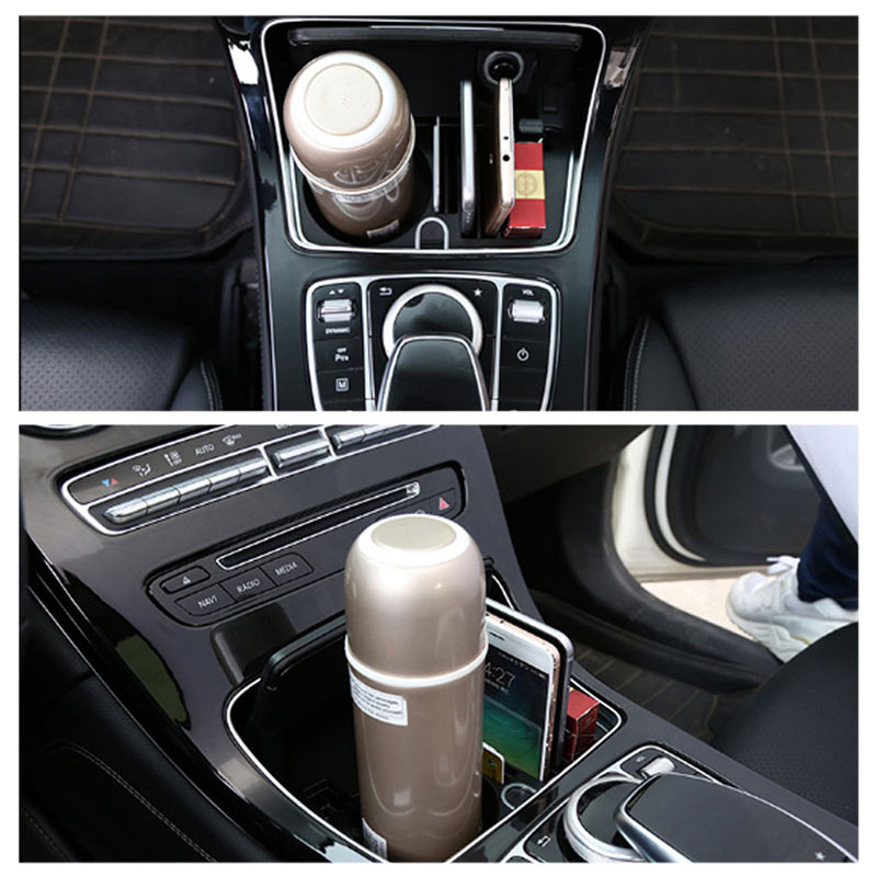 Car Accessories Cup Holder Organizer Replace Box For Mercedes Benz C ...