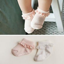 Sweet Princess Baby Girls Socks Cotton Ruffles Ankle Length Baby Calcetines Pink/White for 0-4 Years 1 Pair