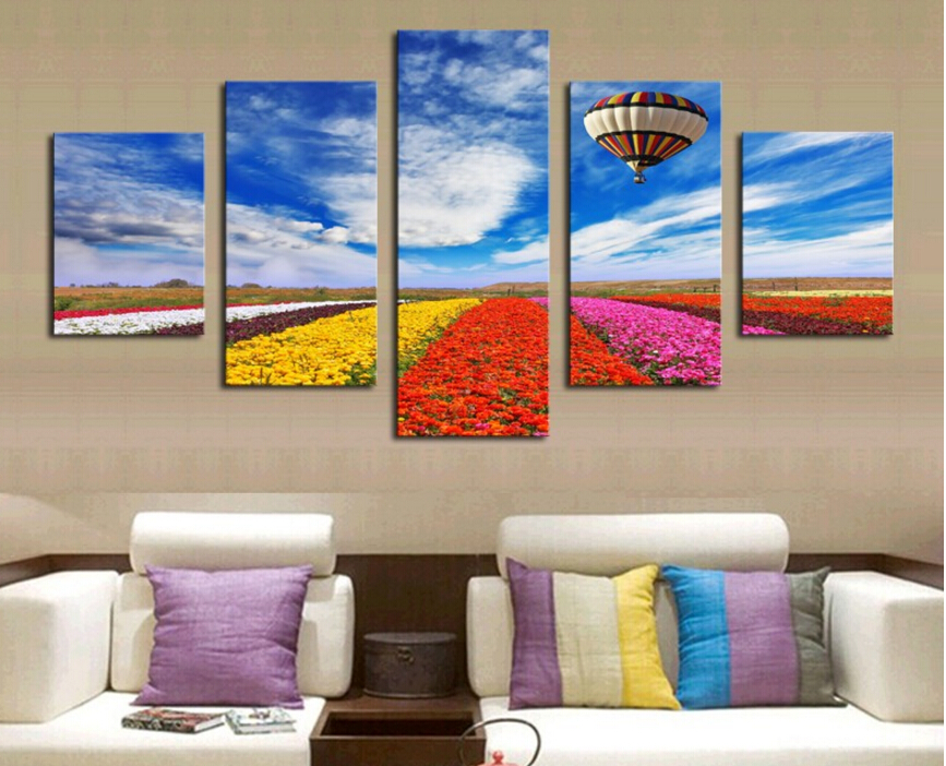 Unframed 5 Panels Modern Colorful Flowers HD Picture