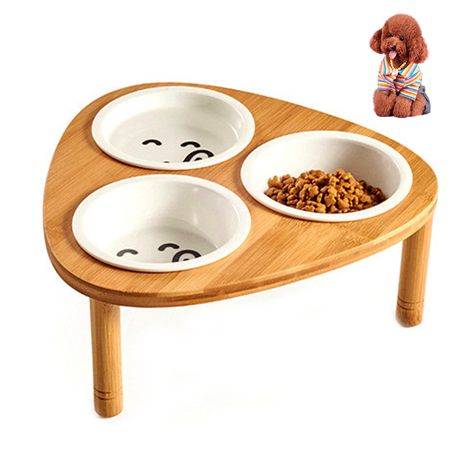 Petacc 3 Set Elevated Pet Bowl Ceramic Cat Bowls Puppy Water With Wooden Stand