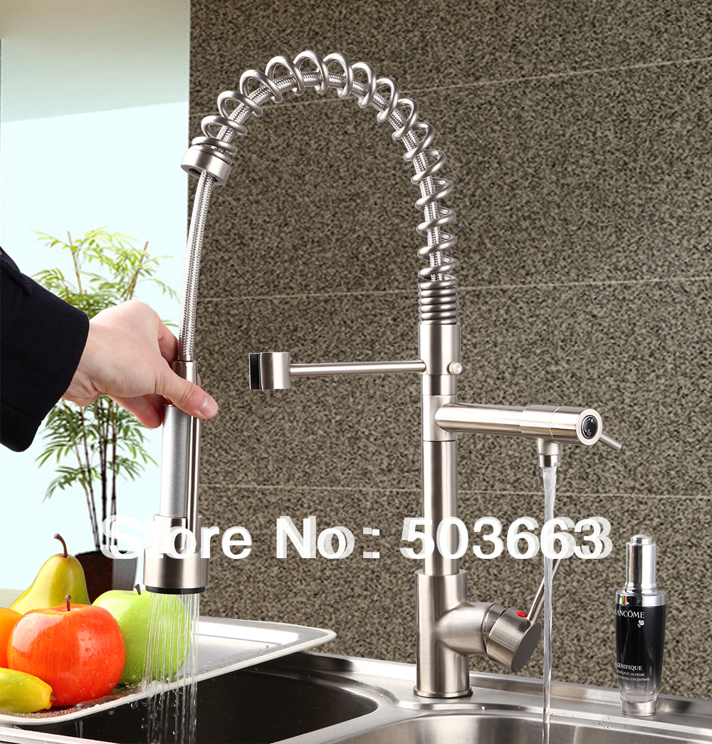 Beautiful Brass Spray Stream Water Kitchen Faucet Swivel Spout Pull Out Vessel Sink Single Handle Deck Mounted Mixer Tap MF-288 double handles free chrome brass water kitchen faucet swivel spout pull out vessel sink single handle mixer tap mf 268