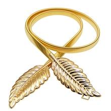 cda0b23c2 Women's Elegant Belts Gold Silver Leaf Elastic Metal Stretch High Waist  Dress Cummerbund Leaf Fashion Vintage
