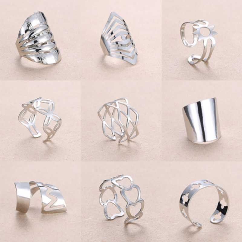 Rinhoo Adjustable Open Size Flower Heart Ring Stainless Steel Finger Ring Ladies Party Jewelry Rings