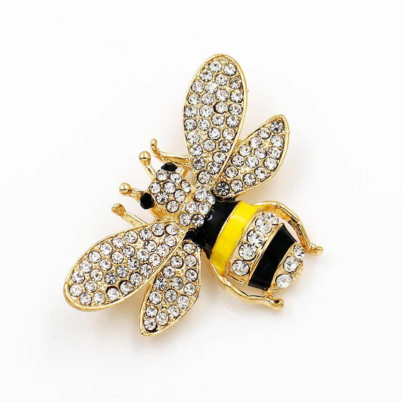 WEIMANJINGDIAN di Marca di Cristallo Strass e Smaltato Bee Hornet Spilla Spilli per le Donne di Modo Accessori Dei Monili di Costume