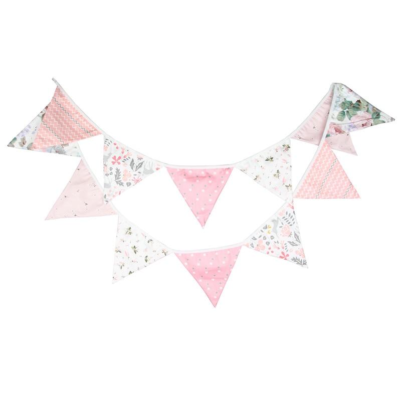 12 флагов, 3,2 м, милые розовые цветы, хлопковая ткань с принтом, флажок-выемка, баннер, гирлянда, декор для свадьбы/дня рождения